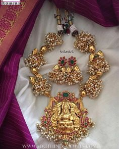 Gold Plated Temple Necklace Set From Tvameva ~ South India Jewels Antic Jewellery, India Jewelry, Temple Jewellery, Gold Jewellery, Jewellery Designs, Antique Pearl Necklace, Antique Jewelry, Gold Jewelry Simple, Necklace Set