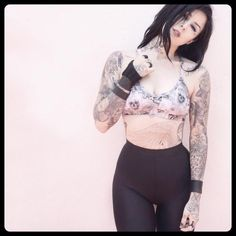 So excited for my friend and his new active line: ! Love this skull bralette! [October Kat von D Kat Von D Tatuajes, Sexy Tattoos, Girl Tattoos, Tatoos, Kat Van D, Mujeres Tattoo, Kat Von D Tattoos, Paar Tattoos, Geniale Tattoos