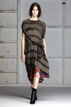 Stripped Knit Asymmetrical Pullover Dress/ Quilt Print Silk Dress
