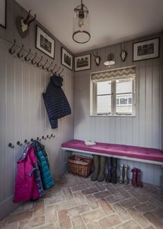 Herringbone tile pattern ideas - Lubelska Brick Tiles, Brick Flooring, Flooring Ideas, French Door Decor, Herringbone Tile Pattern, Boot Room Utility, Hallway Storage, Boot Room Storage, Cloakroom Storage