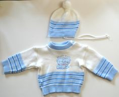 Vintage White and Blue Striped Sweater and Cap Beary Smart by