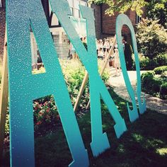 Alpha Nu Chapter of Alpha Chi Omega at the University of Missouri's Tiffany themed Bid Day letters