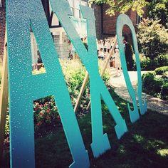 Beautiful letters for Alpha Chi Omega at Mizzou's Tiffany-themed Bid Day. #AlphaChiOmega #Mizzou #BidDay #GoGreek #AChiO