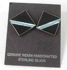 Inlay Post earrings E553 Vintage Earrings, Vintage Jewelry, Matrix Color, Native American Earrings, American Indian Jewelry, Stone Jewelry, Vintage Shops, Sterling Silver, Native American Jewelry