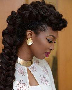 Bolanle Olukanni's Fabulous Jumbo Braided Hawk! ~African fashion, Ankara, kitenge, African women dresses, African prints, Braids, Nigerian wedding, Ghanaian fashion, African wedding ~DKK
