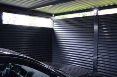Innenansicht von Metallcarport. Eine optisch tolle Lösung. Viel Liebe zum Detail.  #Stahlcarports #Metallcarports #exterior #exteriordesign  #carport