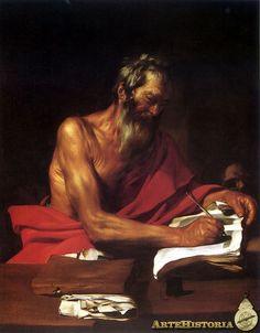 """San Jerónimo Penitente. Primera obra firmada de Ribera, se aprecia la fuerte influencia de Caravaggio en el manejo de la luz. Por su parte el Joven Ribera se centra en los detalles. En la escena San Jerónimo traduce la """"Vulgata"""". Es interesante compararla con su última obra firmada, también un San Jerónimo pero de 1652, año de su muerte."""