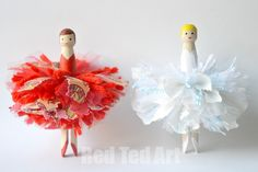 DIY Pom Pom Dolly Peg Ballerina Fairies. *To make the Fairies complete, you can make lovely Wings...from Skeleton leaves, felt, cardstock, craft foam, tule or a leftover piece of fabric.