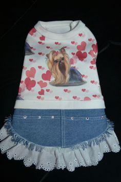 Hey, I found this really awesome Etsy listing at https://www.etsy.com/listing/188295036/yorkie-denim-dress