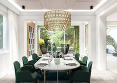 Dining Room at Townhouse in Düsseldorf   designed by studio a.s.h. Modern Classic, Townhouse, Living Spaces, Dining Room, Chandelier, Ceiling Lights, Studio, Design, Home Decor