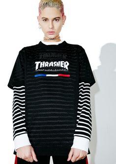 129bbad0 HUF X Thrasher TDS Mesh Jersey Thrasher, Huf, Christmas Sweaters, Mesh,  Electric