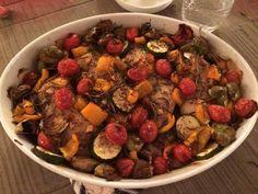 ひなのオーブン料理 味付けはたっぷりのニンニクと塩胡椒、フレッシュローズマリーとナツメグとトリュフオイルと白ワイン