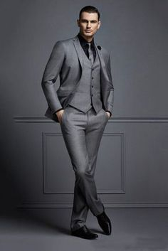 2018 Tailor Made Grey Formal Men Suit Slim Fit Blazer Masculino Business Marriage Blazer Custom Style Prom Tuxedo 3 Piece Terno Mens Fashion Suits, Mens Suits, Mens Tux, Mens Custom Suits, Mens 3 Piece Suits, Mens Suit Vest, Dress Suits For Men, Suit For Men, Cheap Suits For Men