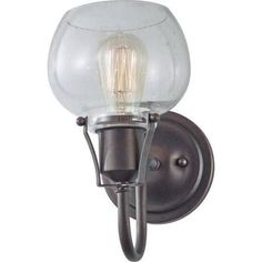 "- Overview - Details - Why We Love It Loads of bang for your buck. The curves of the glass pair nicely with the tough rustic iron hardare. - Extension: 9 3/4"" - Bulb Type: (1) Medium A19 100w Max. Bac"