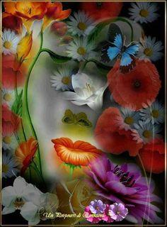beautiful woman into flowers