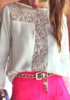 White Patchwork Lace Chiffon Top