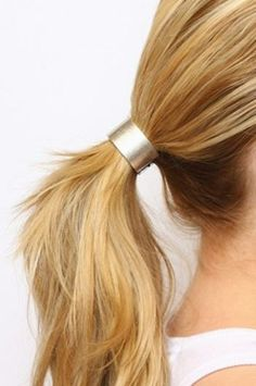 Use a hair cuff instead of a hair tie to update your ponytail for a chic look. Holiday Hairstyles, Ponytail Hairstyles, Wedding Hairstyles, Beach Hairstyles, Men's Hairstyle, Formal Hairstyles, Hairstyles Haircuts, Blond, Hair Cuffs