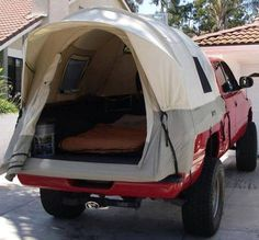 This is such a great idea! Would you like one of these? Tunnel shaped design maximizes interior space tall 5 ft. ceiling height and five windows provide excellent ventilation and openness… This truck bed tent is perfect for camping.   From Liviingoutdoors