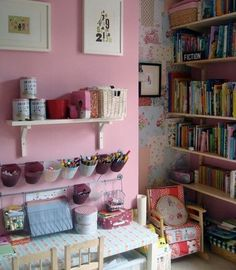 Cute idea for a pretty art station and reading corner in a little girls room