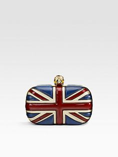 So pretty! Alexander McQueen Leather Union Jack Skull Clutch