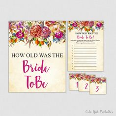 How Old Was the Bride To Be Game - Printable Floral Bridal Shower Game - Guess the Bride's Age - How Old Was She Purple - Floral - 0011P