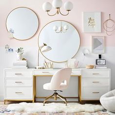 Blaire Classic Desk + Cubby Storage Set, Lacquered Simply White, White Glove Delivery - New Deko Sites My New Room, My Room, Girl Room, Girls Room Desk, Bedroom Desk, Girls Bedroom, Modern Bedroom, Contemporary Bedroom, Master Bedroom