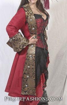 Lady Pirate Coats N Jackets – Pirate Fashions Costume Steampunk, Steampunk Pirate, Steampunk Clothing, Steampunk Fashion, Gypsy Clothing, Gothic Fashion, Victorian Steampunk, Pirate Jacket, Pirate Garb