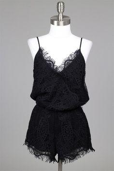 Your Keepsake Crochet Lace Romper - Black RESTOCKED!
