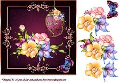 "Fabulous Florals Square Card Front with Step by Step on Craftsuprint designed by Karen Adair - This is a 7"" square card front, with a beautiful bejewelled border, and fabulaous flowers. Decoupage is included to add depth and dimension to your finished card. If you like this check out my other designs, just click on my name. - Now available for download!"