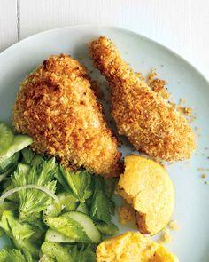 Buttermilk Chicken with Cornbread and Cucumber-Celery Salad