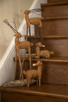 Handmade Rustic Christmas Decor // Deer // Reindeer // Farmhouse Style // Holiday Decoration Country // Ethical + Fair Trade + Sustainable
