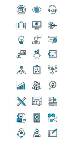 Set of Marketing & Development line icons for graphic and web design. Icons can be used for websites, print and presentation templates, web and mobile services and apps. Line Design, App Design, Icon Design, Flat Design, Icones Cv, Cv Photoshop, Metal Business Cards, Doodle Icon, Sketch Notes
