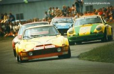 Opel GT playing rough with some Porsches, and what appears to be a Lotus. Sports Car Racing, Race Cars, Opel Gt, Motor Company, Buick, Vintage Photos, Classic, Vehicles, Lotus