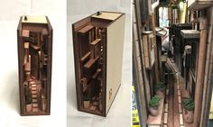 Clever Wooden Bookends Mimic Tokyo's Narrow Back Alleys Lit Up at Night Simple Design Lets You Creatively Bring Nature Indoors with a Vertical Grid Garden Miniature Rooms, Miniature Houses, Book Crafts, Diy And Crafts, Wooden Bookends, Mini Things, Book Nooks, Bookshelves, Bookshelf Design