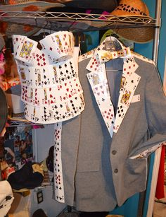 Custom Couples Costume: The Gamblers. Playing card bustier (corset) and men's sports coat trimmed in cards with card bow tie.
