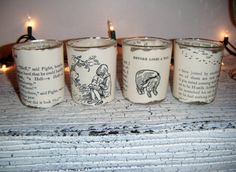 Classic vintage Winnie the Pooh book votive set!  1 READY TO SHIP!  Cute for a baby nursery, gift!