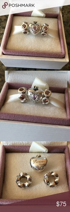 Pandora Princess Heart Charm & Lights Spacers Authentic Pandora Princess Heart Charm, Sterling Silver with 14K gold coronet. 2 Pandora Retired Silver, Light Spacer charms with 5 Champagne Zirconia. All 3 charms are in fair condition but guaranteed authentic. Pandora Jewelry Bracelets