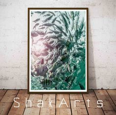 School Fish Print Fish Decor Beach Coastal Art Coastal by ShakArts