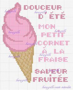free- mon petit cornet fraise Blackwork, Cross Stitch Embroidery, Diagram, Ice, Scrapbooks, Hama, Strawberry Fruit, Cross Stitch, Embroidery