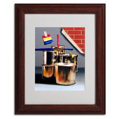 """Trademark Art """"Primary Colors 01"""" by Roderick Stevens Framed Painting Print Size: 14"""" H x 11"""" W x 0.5"""" D, Frame Color: Brown"""