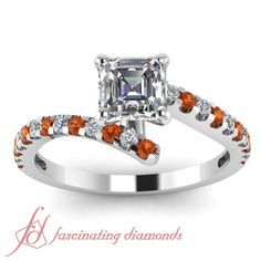 Zig Zag Ring || Asscher Cut Diamond Petite Ring With Orange Sapphire In 14K White Gold