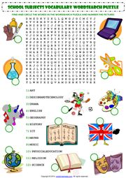 School Subjects Word Search Puzzle ESL Worksheet