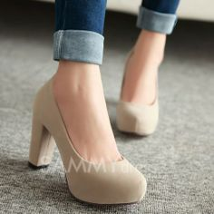Fashion Women's Pumps With Chunky Heel and Solid Color Design
