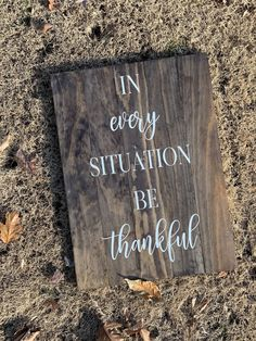 Excited to share the latest addition to my shop: In Every Situation Be Thankful Wood Signs Home Decor, Wood Pallet Signs, Rustic Wood Signs, Wood Pallets, White Seal, Home Decor Christmas Gifts, Front Porch Signs, Pallet Painting, Newlywed Gifts
