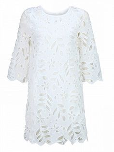 White Half Sleeve Cutwork Shift Dress | Choies