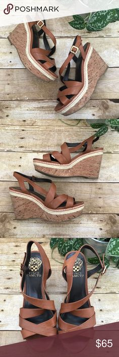 Vince Camuto Sandal Wedges Excellent preowned condition! Normal wear noted in photos. So cute! Vince Camuto Shoes Wedges