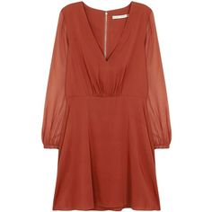 Alice + Olivia Cary burnt orange stretch silk mini dress ($425) ❤ liked on Polyvore featuring dresses, red mini dress, burnt orange dress, red skater skirt, ruched mini dress and red circle skirt