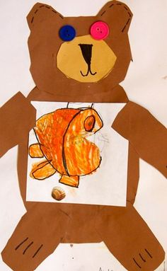 """Brown Bear During this lesson students read the book """"Brown Bear, Brown Bear, What Do You See?"""" by Bill Martin Jr. and illustrated by Eric Carle. Kindergartners learned what an illustrator is, and were given the opportunity to be illustrators themselves. They started with the sentence Brown bear, brown bear, what do you see? , and then drew what their brown bear saw. Using construction paper templates, scissors, glue and markers kindergartners collaged a brown bear holding their drawing."""