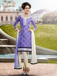 Lavendar Handloom Silk Suit With Resham Work