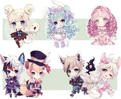 Chibi commissions 10 by LaDollBlanche.deviantart.com on @DeviantArt